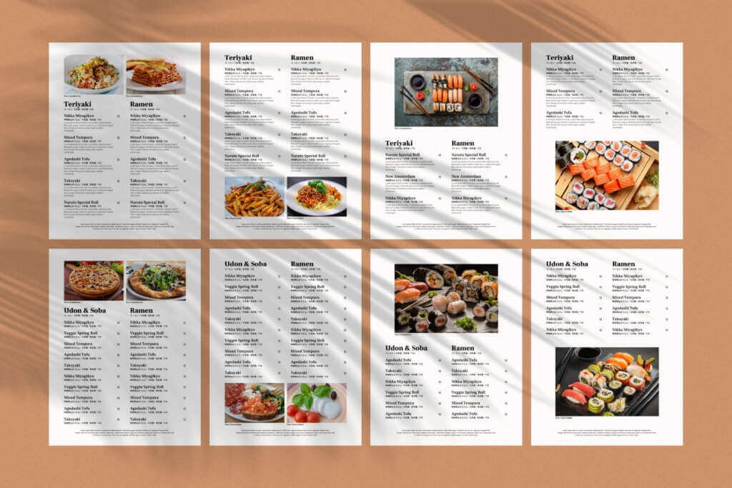 Multilingual Food Menu Templates