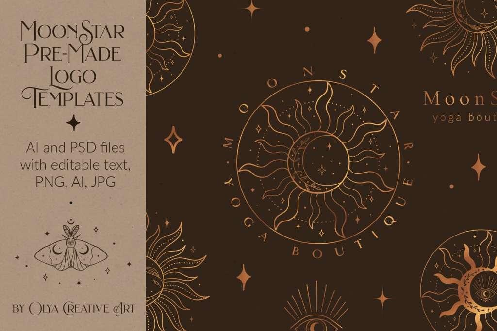 Mystic Sun Moon Logo Templates Kit