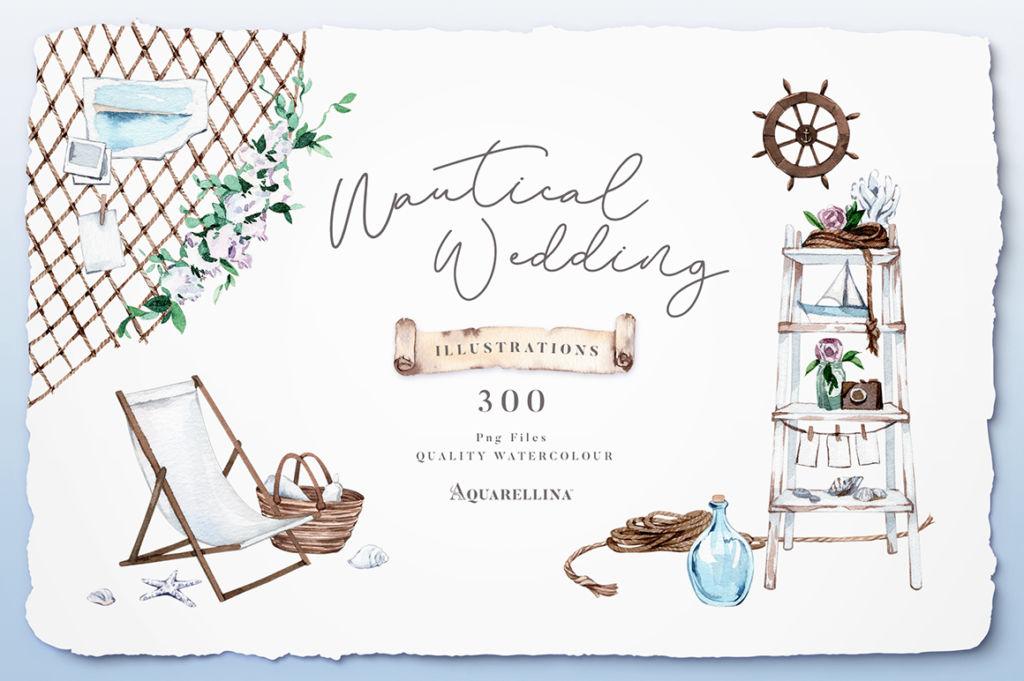 Nautical Beach Wedding Illustrations