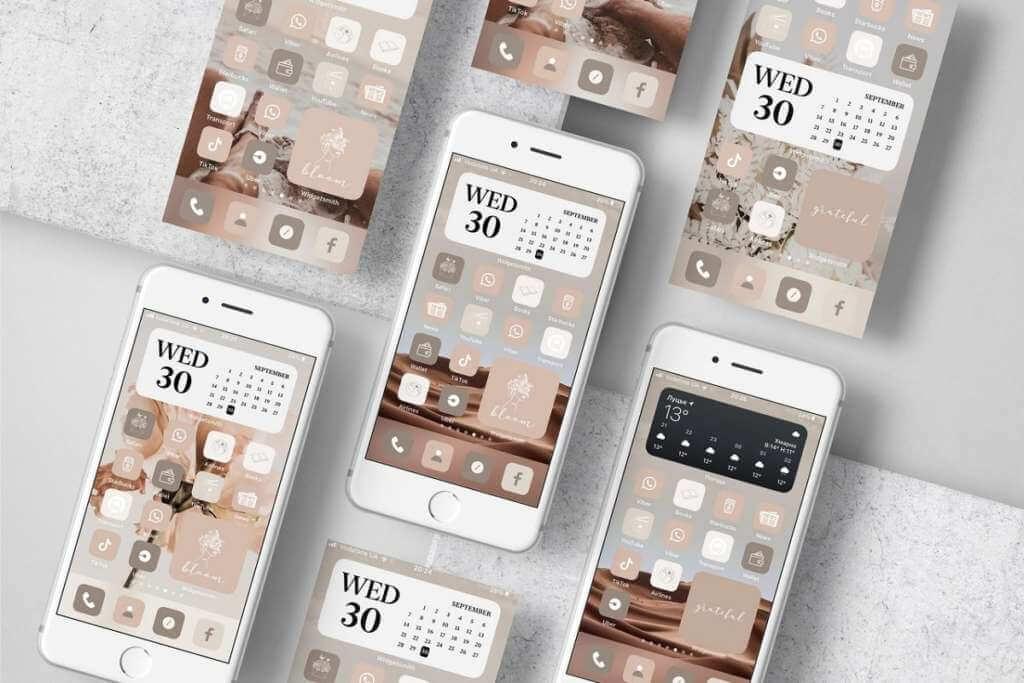 Neutral Tone Aesthetic iOS 14 icons