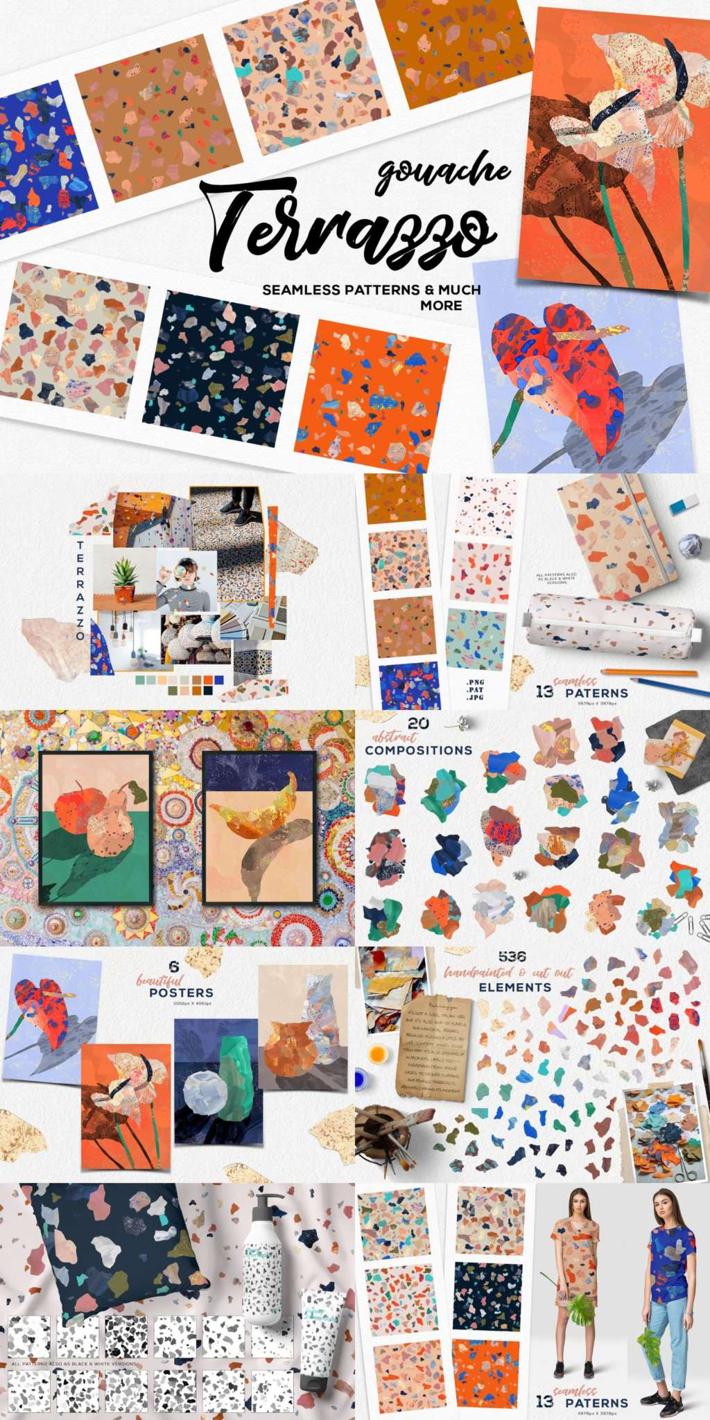 Terrazzo Gouache Graphic Set – patterns, posters, compositons, backdrops
