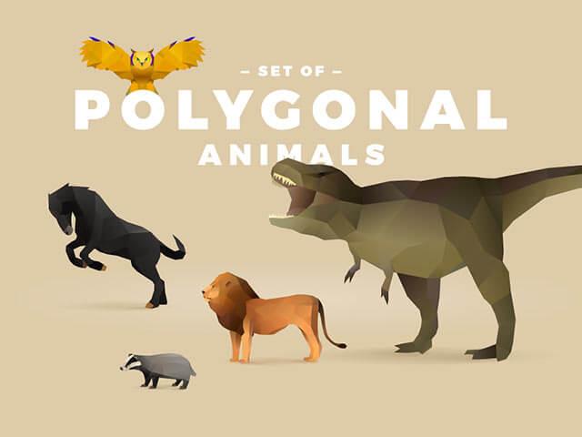 POLYGONAL ANIMALS GRAPHICS SET