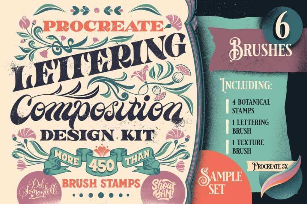 Procreate Lettering Composition Design Sample Set