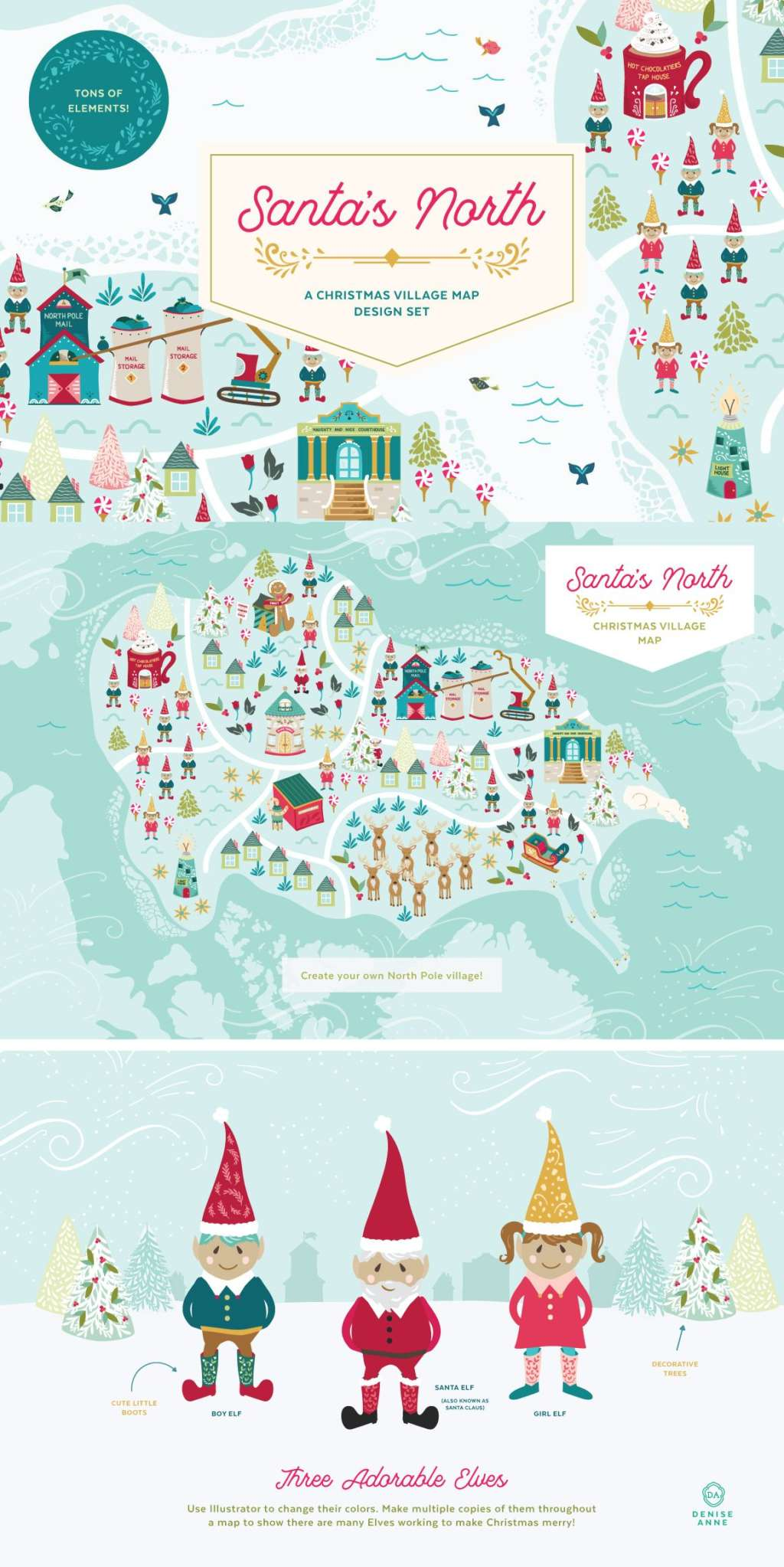 Santa's North Christmas Village Map Design Set