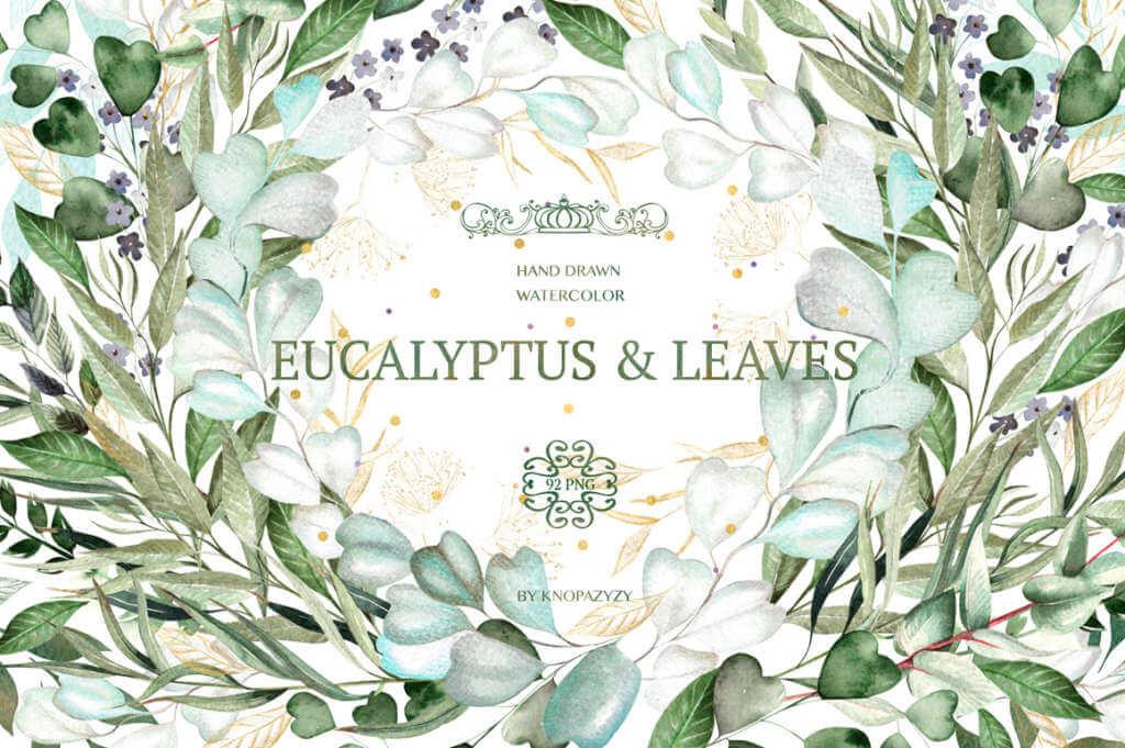 Set of Watercolor Eucalyptus & Leaves