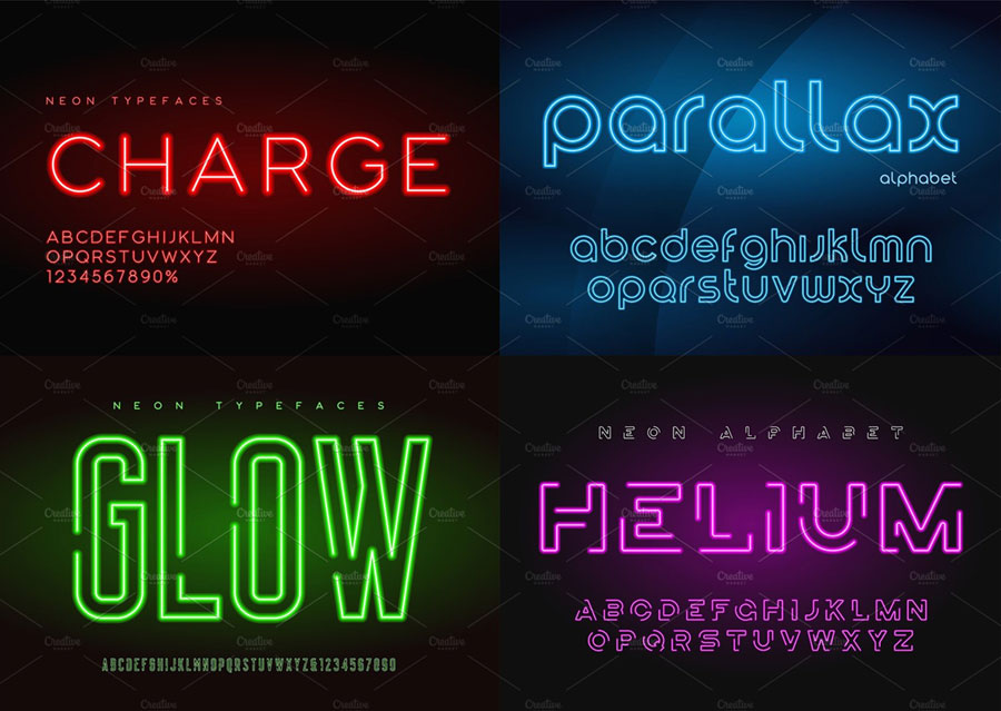 Set of glowing neon vector alphabets