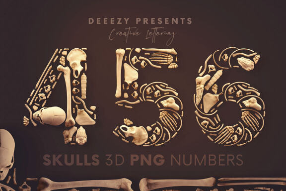 Skull Numbers - Free 3D Lettering