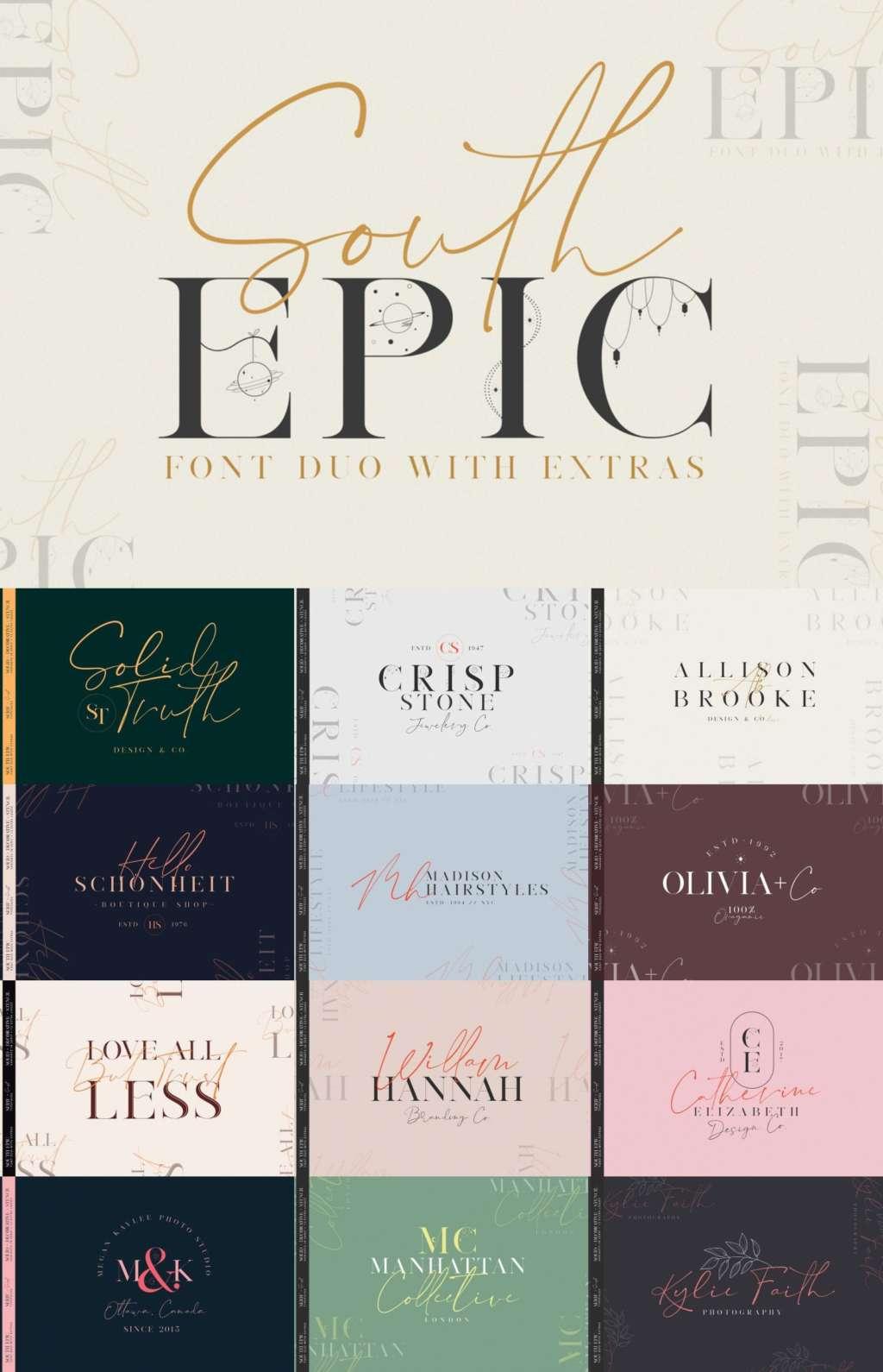 South Epic Dream Font Duo + Logos