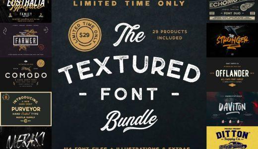 ロゴや見出しのデザインに!英語のテクスチャーフォント29書体セットが29ドルで販売中