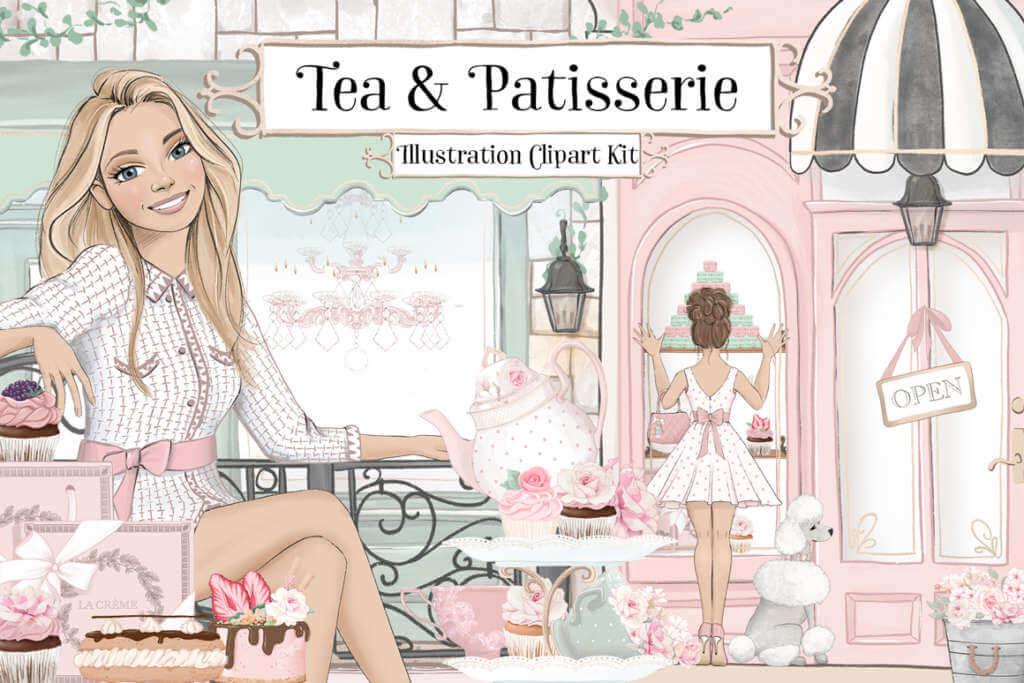 Tea & Patisserie Illustration Clipart Kit