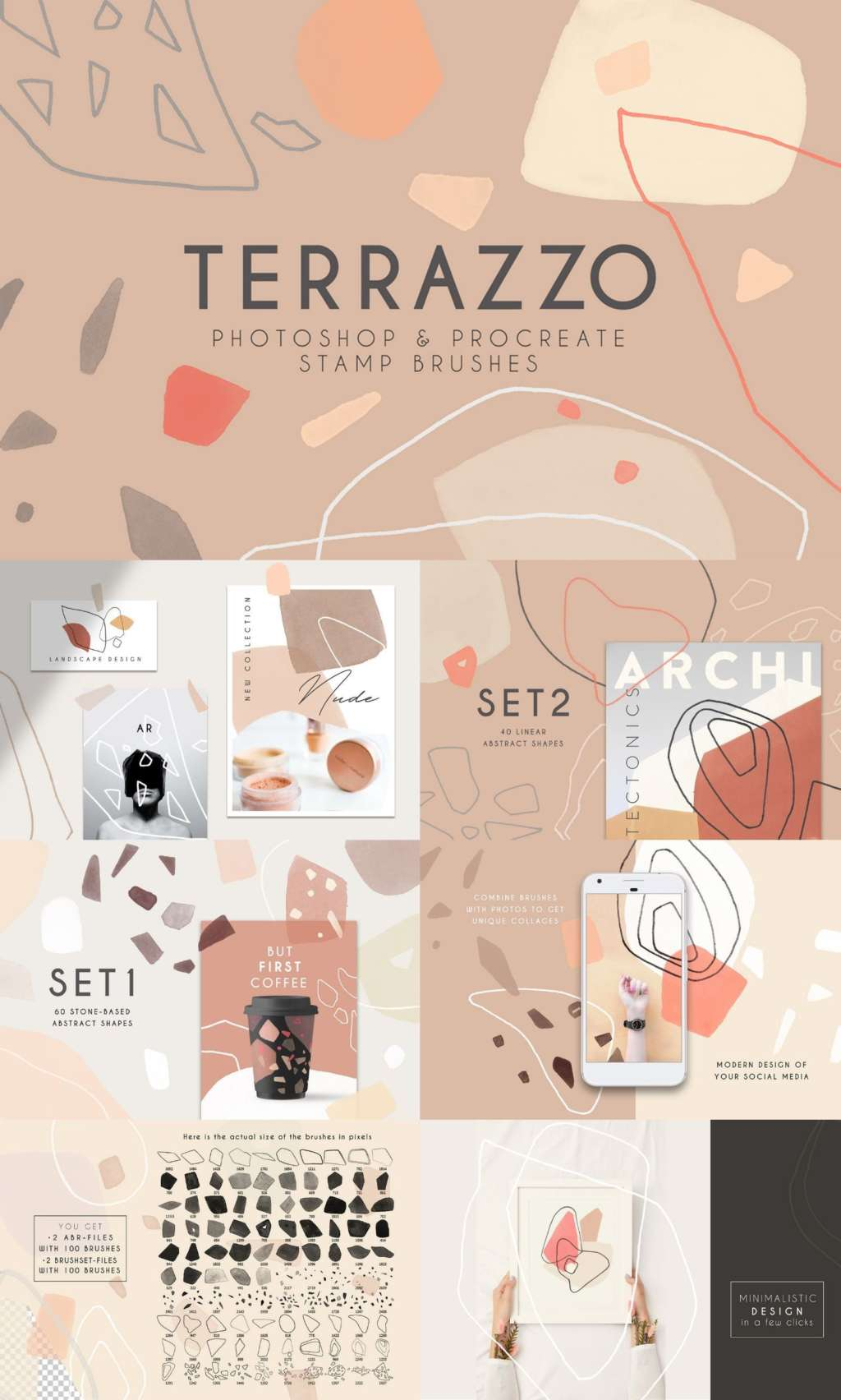 Terrazzo – Modern Photoshop and Procreate Brushes