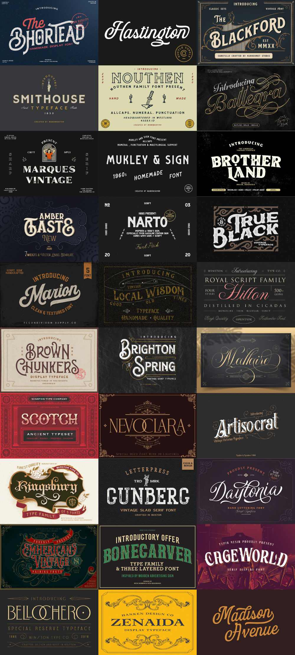 The Traditional Font Bundle