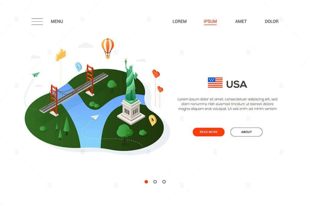 Travel to the USA - isometric banner illustration
