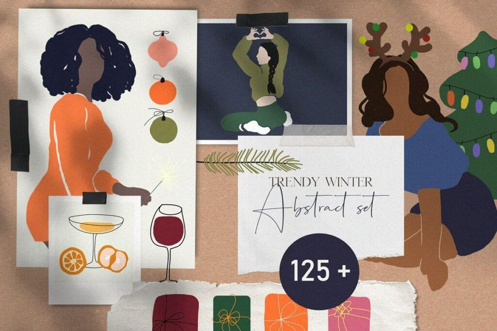 Trendy winter - abstract objects set