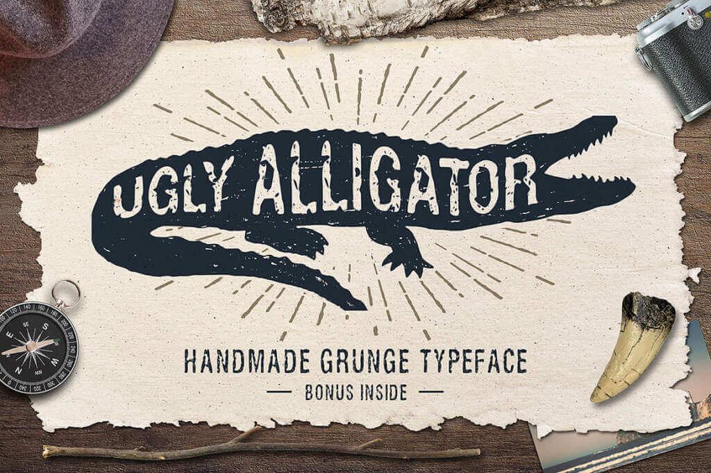 Ugly Alligator – Grunge Typeface + Bonus