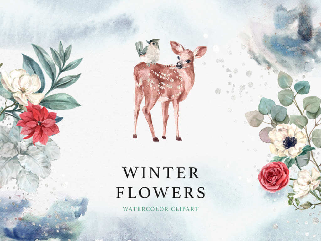 WINTER FLOWERS WATERCOLOR CLIPART