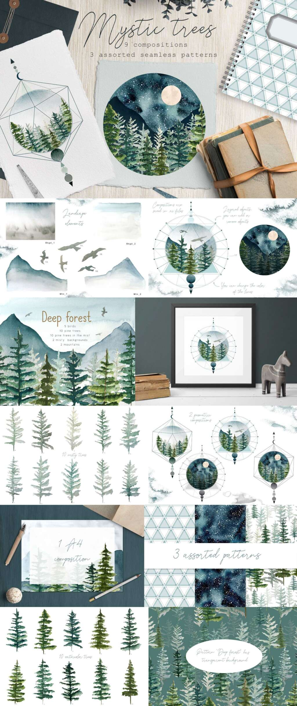 Watercolor Fir Trees and Mountains