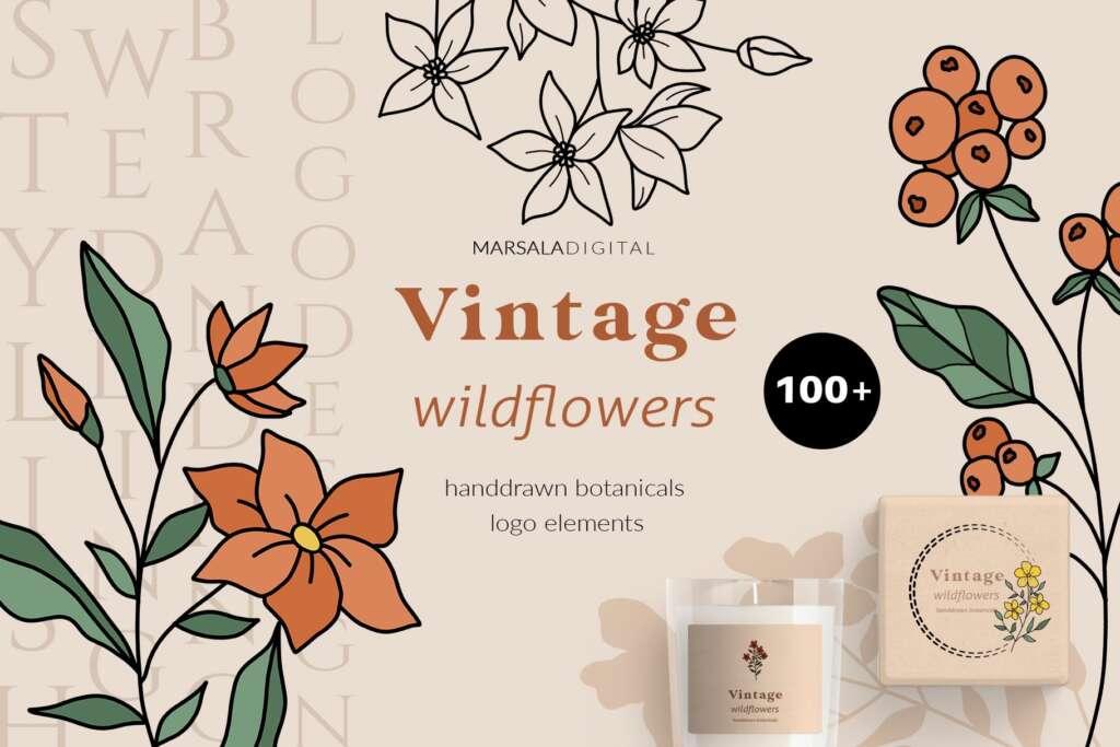 Wildflowers Botanical Logo Elements