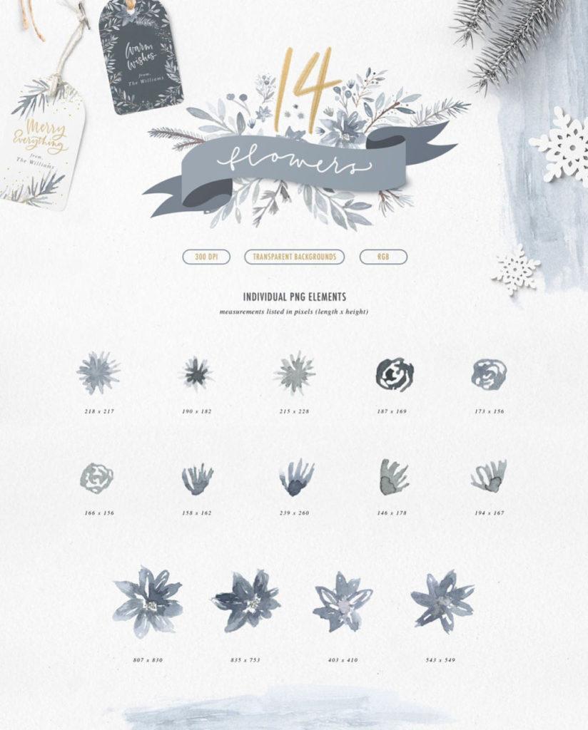 Winter Watercolours Graphics Kit