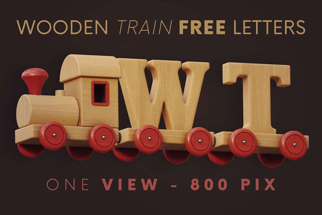 Wooden Train - Free 3D Lettering