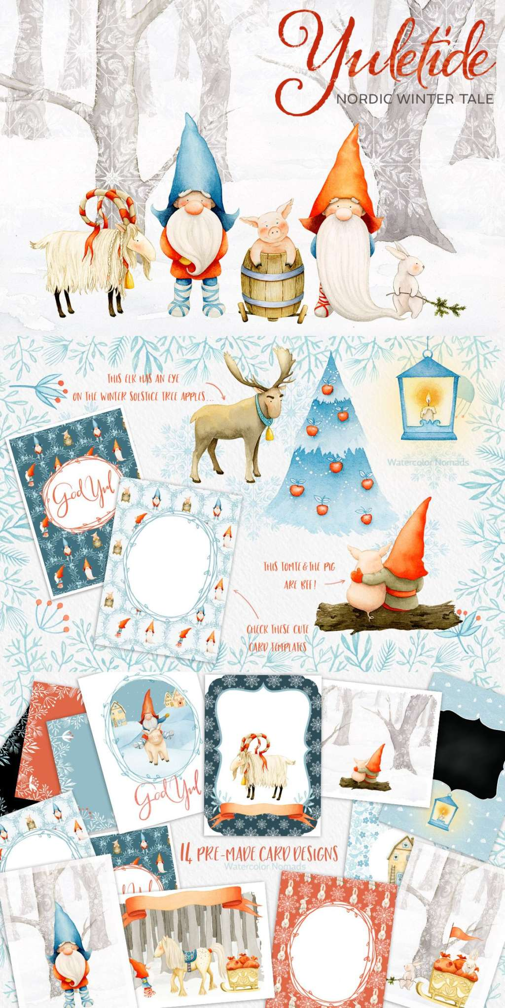 Yuletide – Nordic Christmas Watercolor Collection
