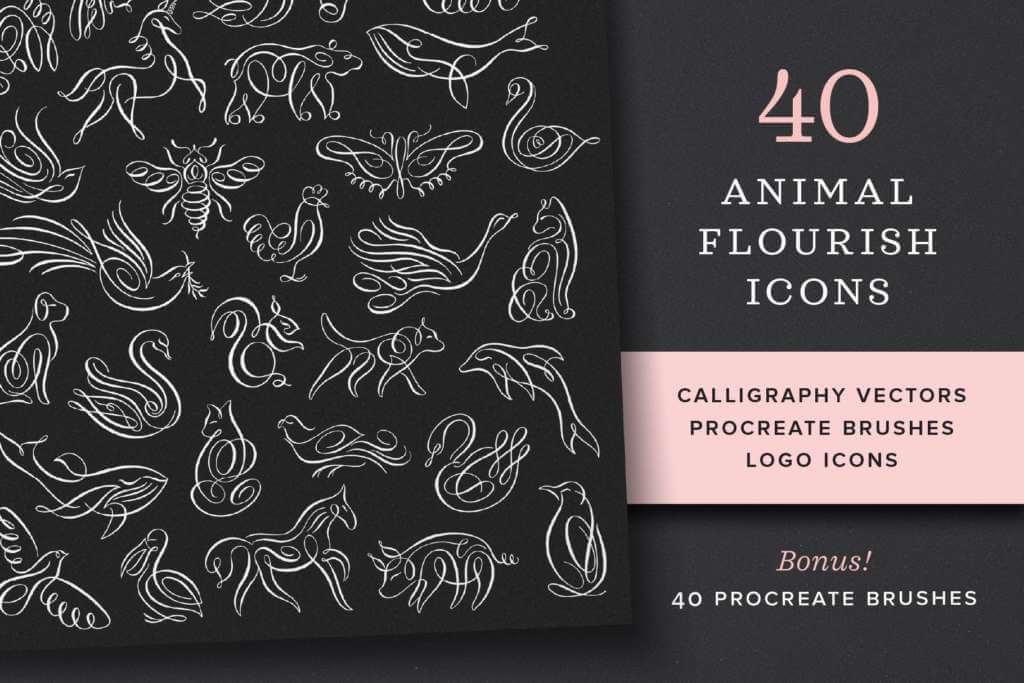 Animal Flourish Icons & Brushes