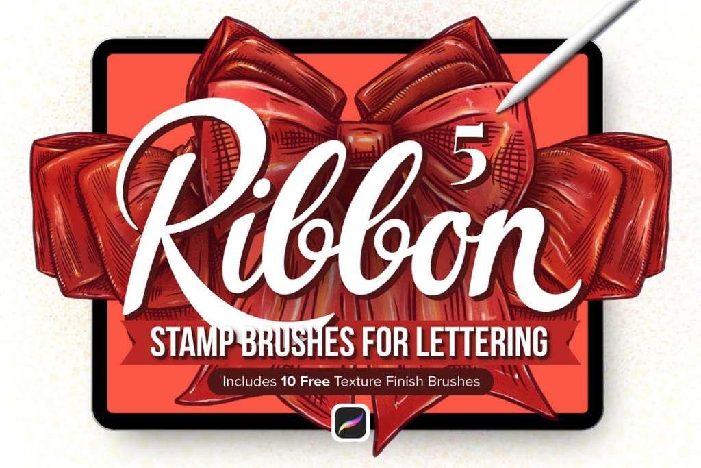 5 Ribbon Procreate Stamp Brushes