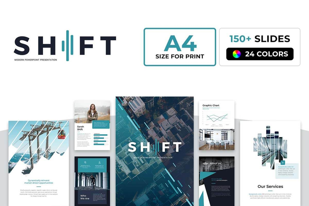 A4 Shift Modern Powerpoint Template