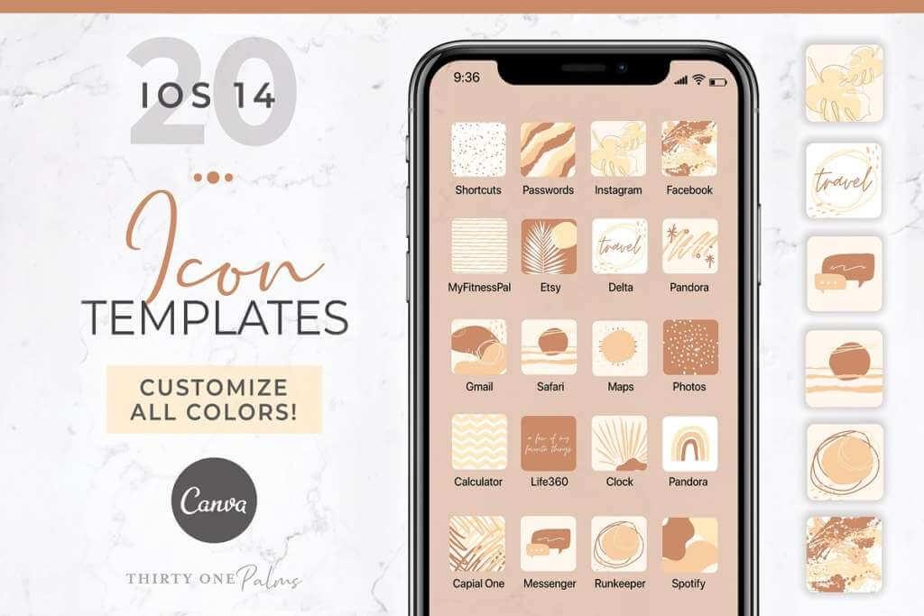 iOS 14 Icon Canva Template   Desert