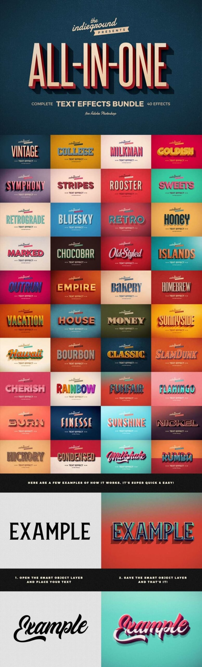 PHOTOSHOP RETRO TEXT EFFECTS COMPLETE COLLECTION