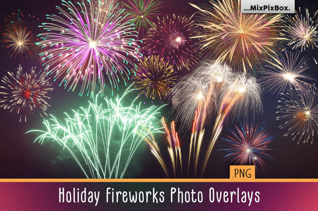 Holiday Fireworks Photo Overlays