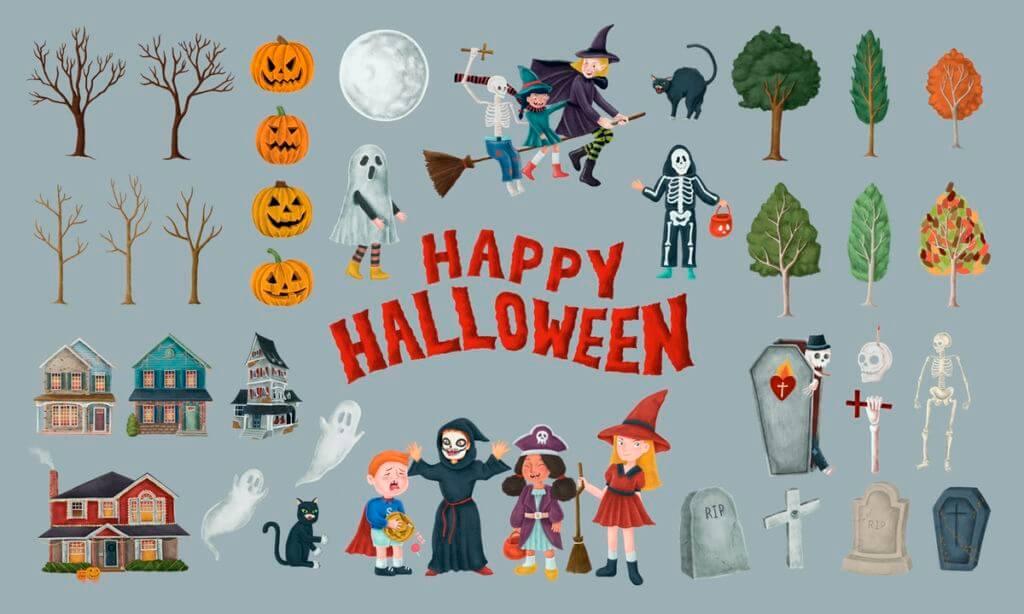 Hand drawn Happy Halloween symbols set