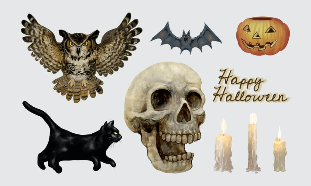 Illustration of Halloween themed icons vector