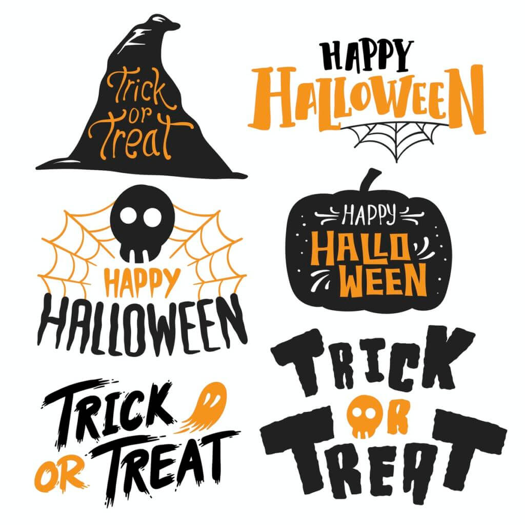 Set of Happy Halloween vectors