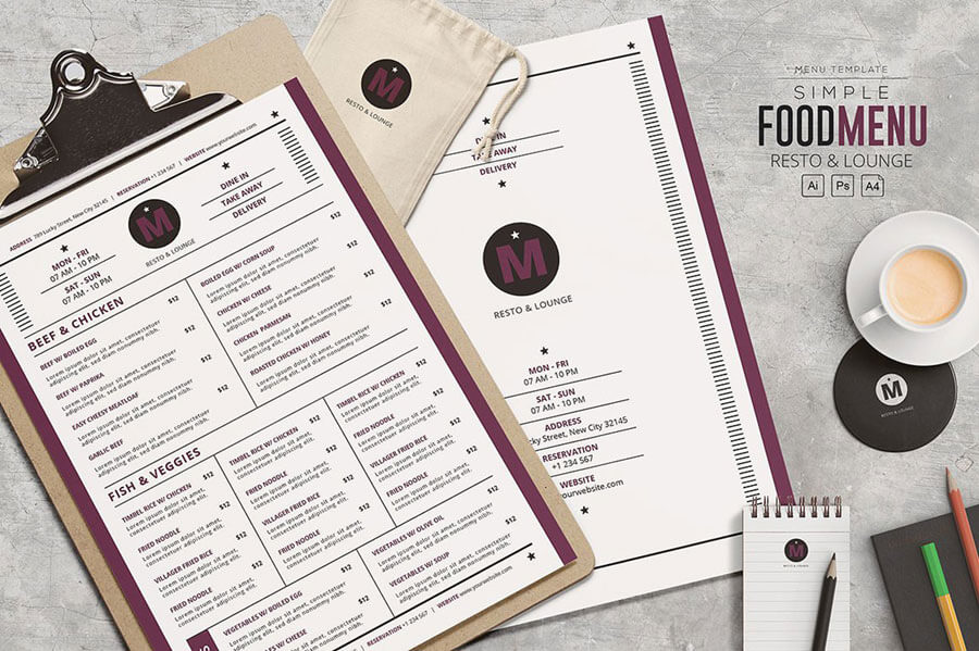 Simple Food Menu Template - Resto & Lounge