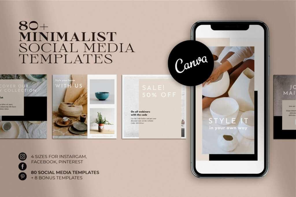 Minimalist Social Media Pack   CANVA
