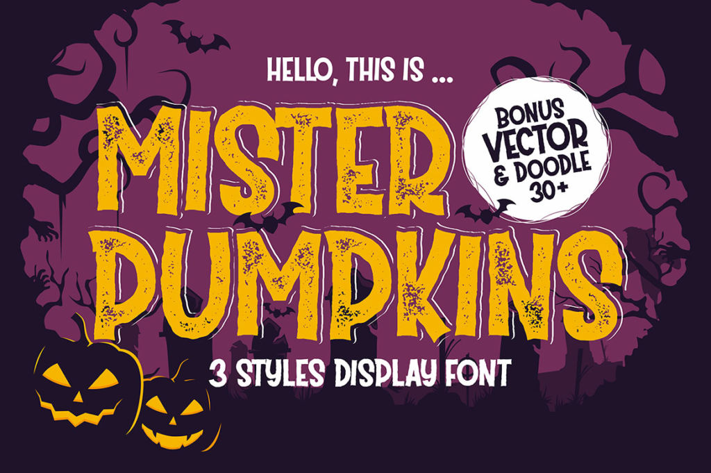 Mister Pumpkins – Halloween Font With Bonus Vector