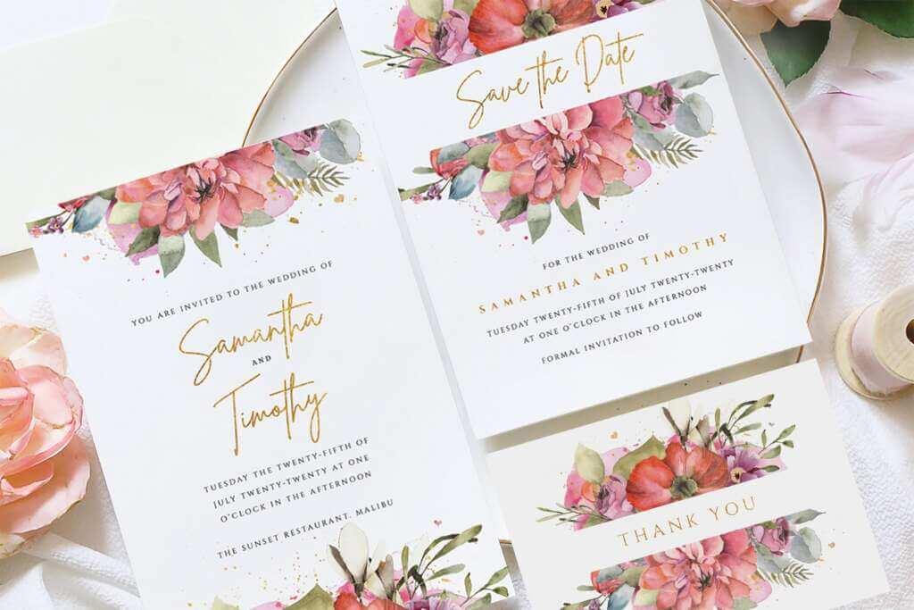 Gold Floral Wedding Invite Suite