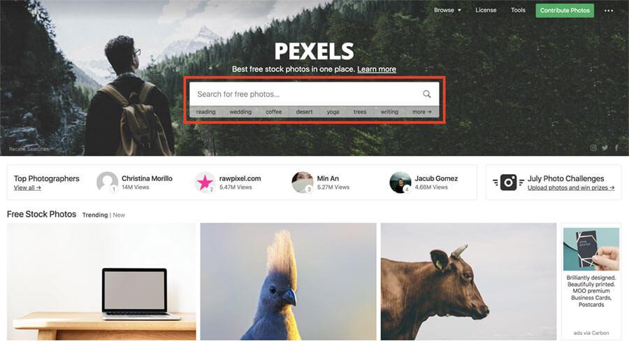 pexelsホーム画面