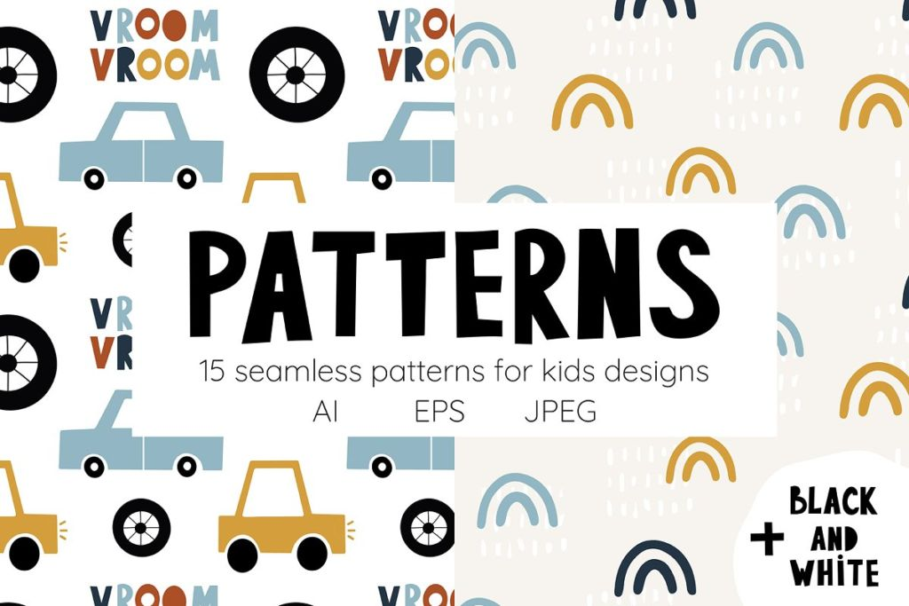 Сute cars. Patterns collection