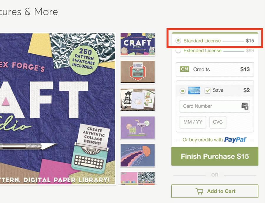 creative marketの購入画面