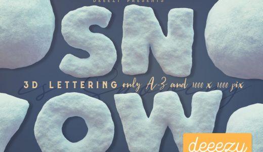 【クリスマス・冬・北海道・子供向け】かわいい雪のアルファベット・数字素材