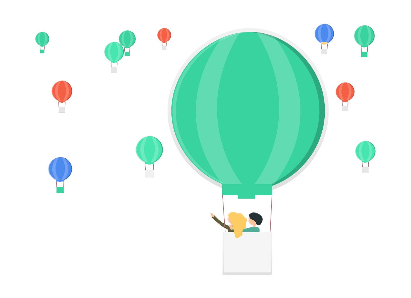 気球に乗るカップル
