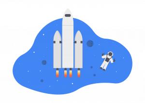 宇宙飛行士とロケット